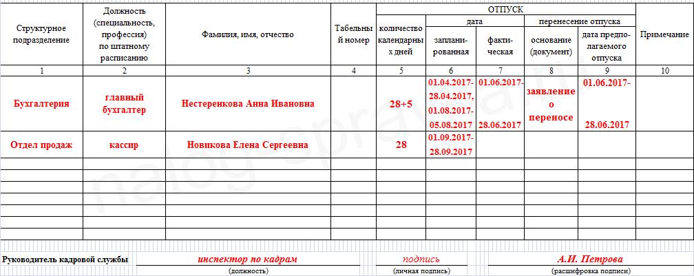 график отпусков образец