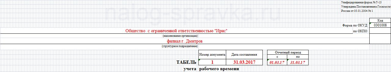 форма т 13