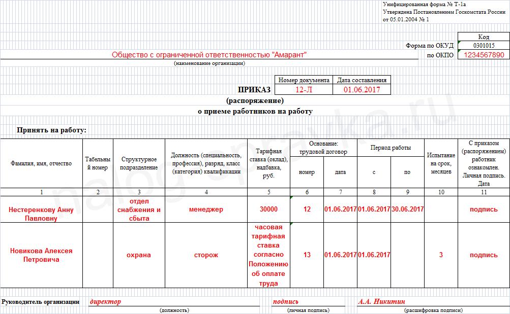 приказ о приеме на работу