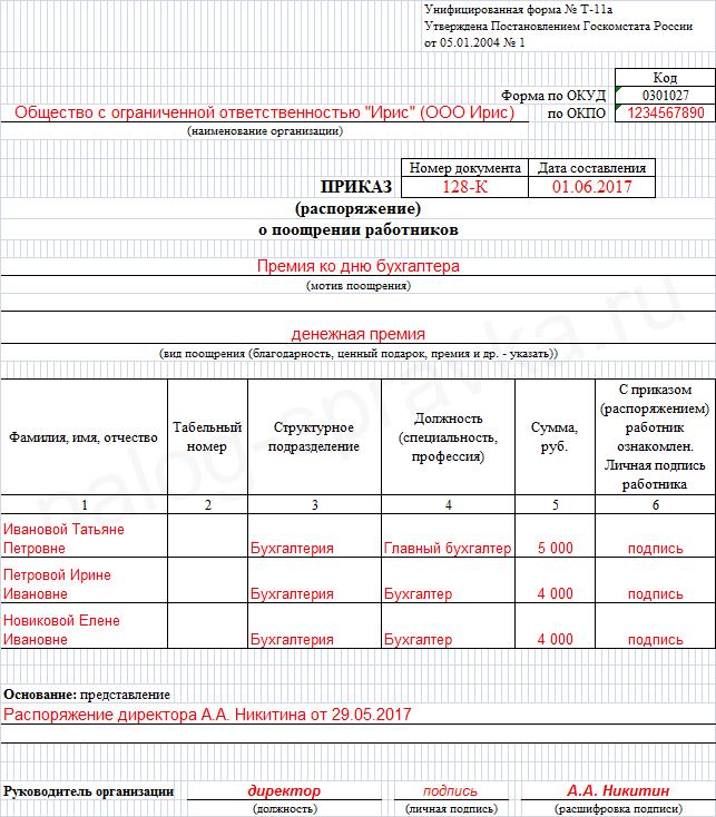приказ о премировании работников