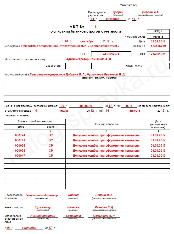 Акт о списании бланков строгой отчетности